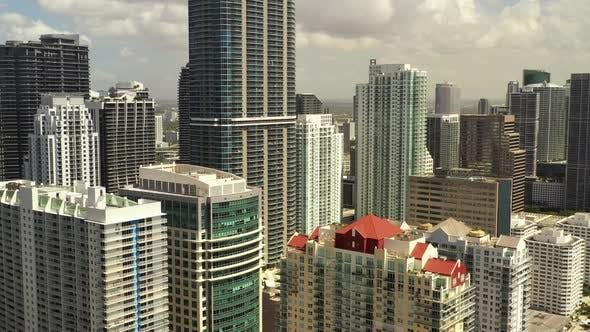 Aerial Video Banking Capitol Downtown Brickell Miami Slow Motion