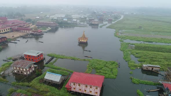 Thumbnail for Aerial View Live on Water in Myanmar Inle lake