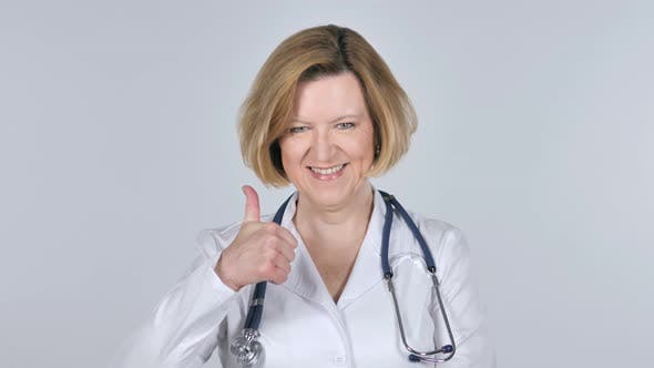 Thumbnail for Portrait of Old Doctor Gesturing Thumbs Up