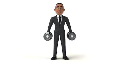 6 Cartoon Männer mit Gewichten