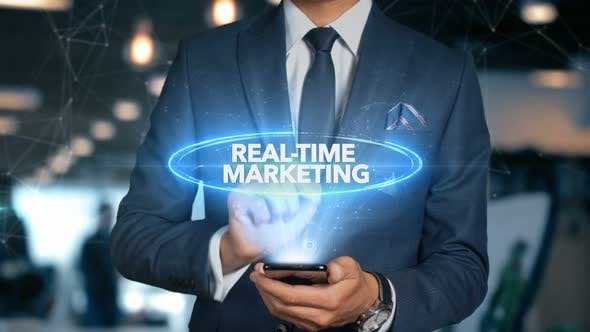 Thumbnail for Businessman Smartphone Hologram Word   Real Time Marketing