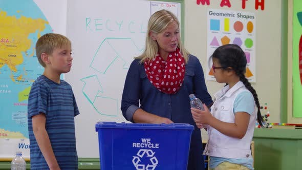Thumbnail for Teacher giving students a recycling lesson