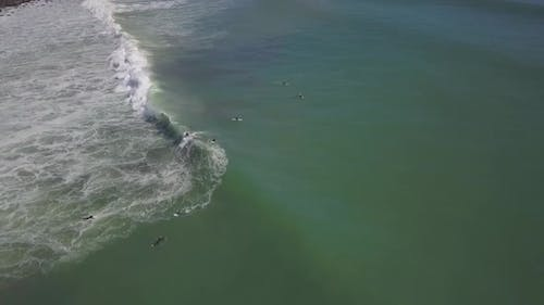 Aerial view of surfer wipe out