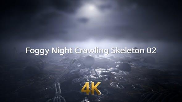 Foggy Night Crawling Skeleton 4K 02