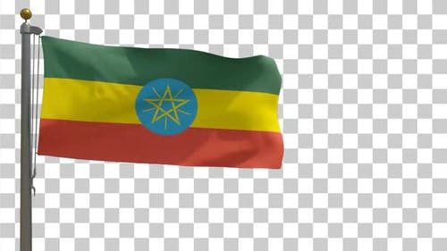 Ethiopia Flag on Flagpole with Alpha Channel - 4K