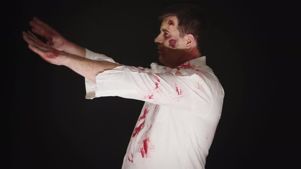 Thumbnail for Guy Dressed Up Like a Zombie for Halloween