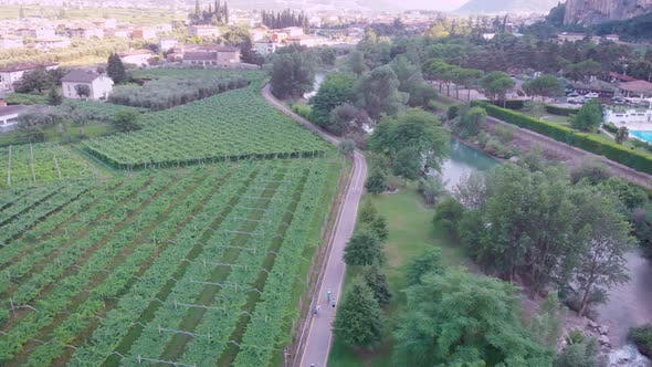 Thumbnail for Aerial View of Beautiful Agricultural Fields Near River and Villages, Camera Is Following Two