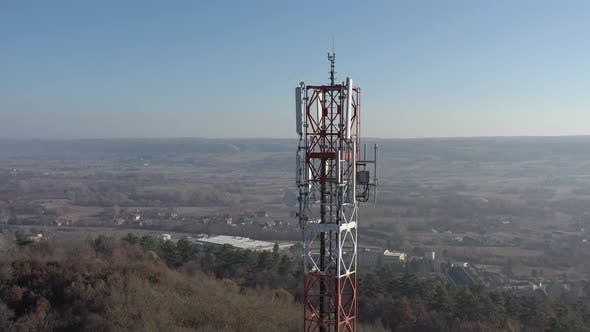 Thumbnail for Construction of telecommunication  antenna tower 4K drone footage