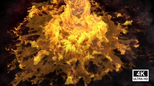 Fire With Smoke Streaming And Spreading 4K