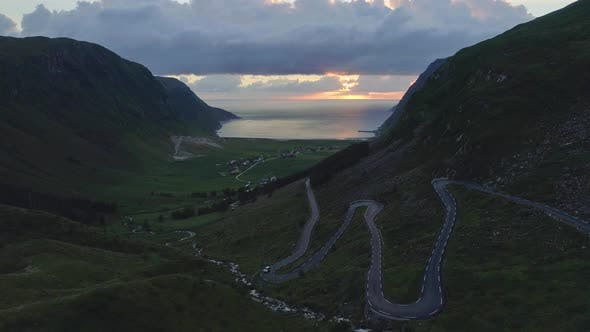 Thumbnail for Drone Shot of the Scenic Road at Hoddevik
