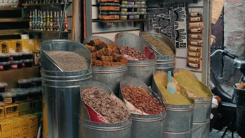 Selection of Different Arabian Spices on a Traditional Moroccan Market Souk in Marrakech, Morocco. A