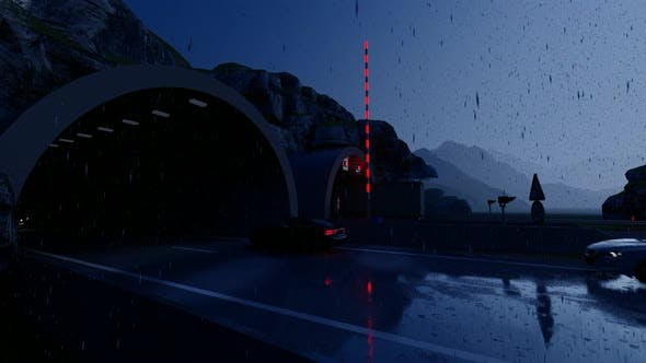 Thumbnail for Vehicles Passing Through Tunnel in Rainy Weather