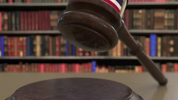 Thumbnail for Flag of Thailand on Falling Judges Gavel in Court