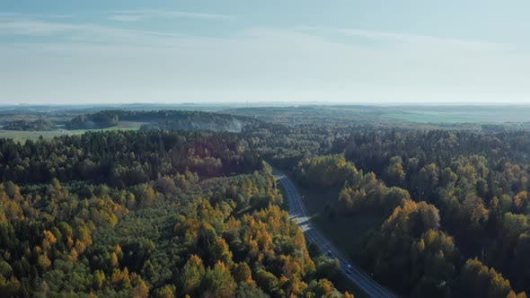 Thumbnail for Aerial Drone Shot Cars Driving Along Winding Country Road Through Autumn Forest. Fall Season
