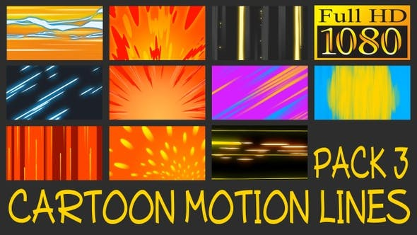 Thumbnail for Cartoon Motion Lines Pack 3