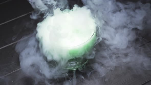 Thumbnail for Chemical Reaction of Water To the Addition of Dry Ice, Top View.
