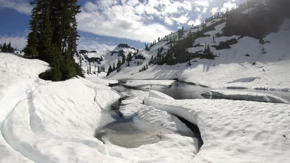 Thumbnail for Breathtaking Nature View With Glacier Snow Melting In Mountain River