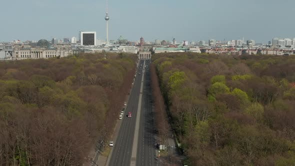 Thumbnail for AERIAL: Strasse des 17. Juni with View on Brandenburg Gate in Berlin, Germany on Sunny Day