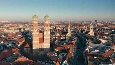 Aerial View of Munich City Center with the Famous Landmark Frauenkirche