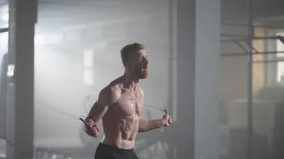 Slow Motion Male Athlete Skipping Rope