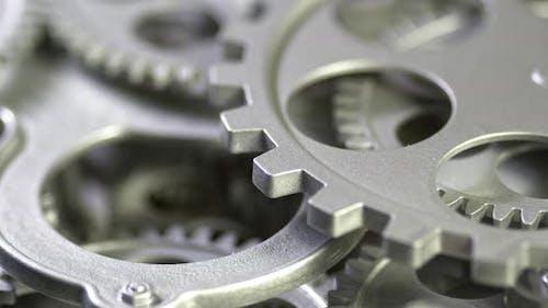Mechanical Grey Gears Rotation Motion 4