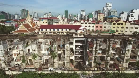 Aerial view of a abandoned building on urban area, Cambodia.