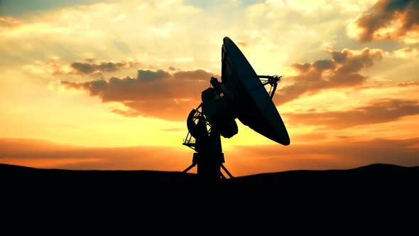 Cover Image for Military Radar Exploring Evening Sky Against Scenic Sunset