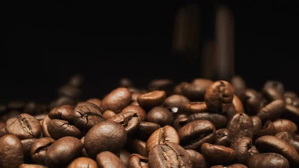 Thumbnail for Falling And Rotates Coffee Beans. Close-up.
