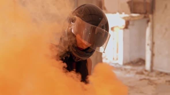 Thumbnail for Person in Motorbike Helmet Smoke Bomb