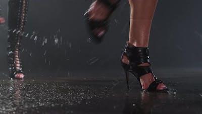 High Heels Dancing on Wet Stage Floor