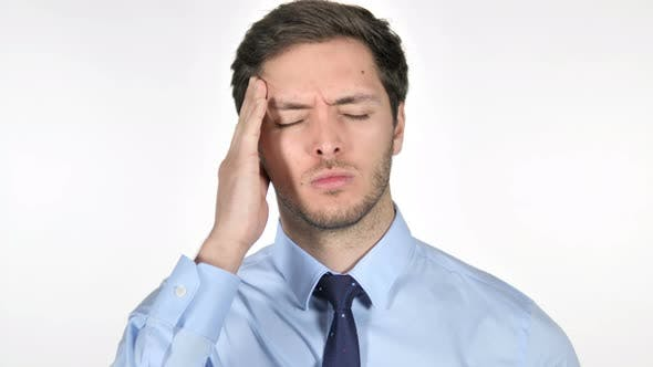 Thumbnail for Stressed Young Businessman with Headache on White Background