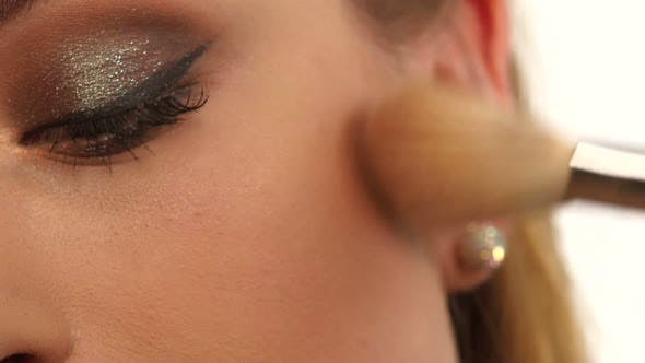 Thumbnail for Make-up Girl, Woman Teenager Face with Make Up Brushes and a Blusher. Close Up