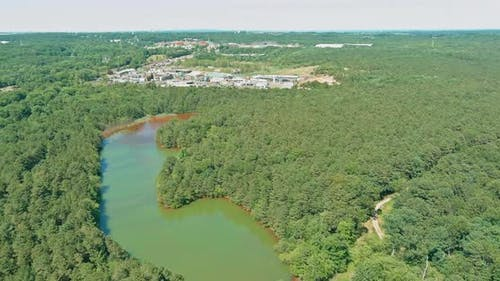 Aerial View of Environmental Zone Chemical Emissions Into the Atmosphere Chemical Waste Against a