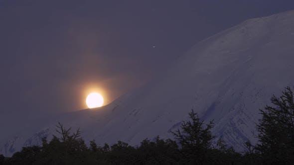 Thumbnail for Full Moonrise Over the Tolbachik Volcano. Kamchatka Peninsula, Russia