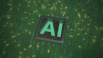 AI or Artificial Intelligence Text on a Computer Processor