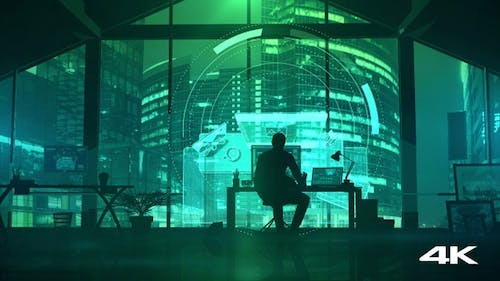 Silhouette of a man in an office working with a virtual interface 4K
