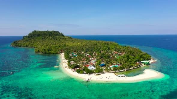 Village on a Tropical Island. Himokilan Island, Leyte Island, Philippines. Tropical Island with a