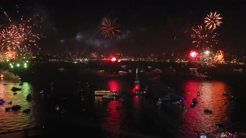 Aerial video Fireworks shows of Istanbul Maiden's Tower, October 29 Republic Day events