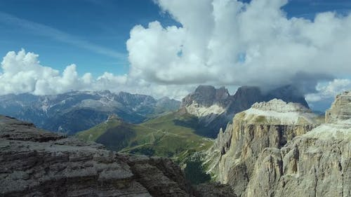 Italian Dolomites. View From Piz Boe Mountain on Langkofel