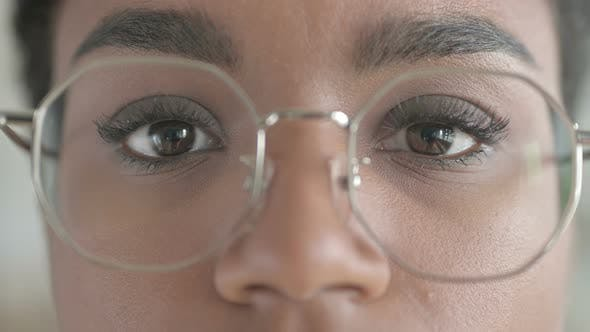 Close-up Shot of Young African Girl Wearing Glasses