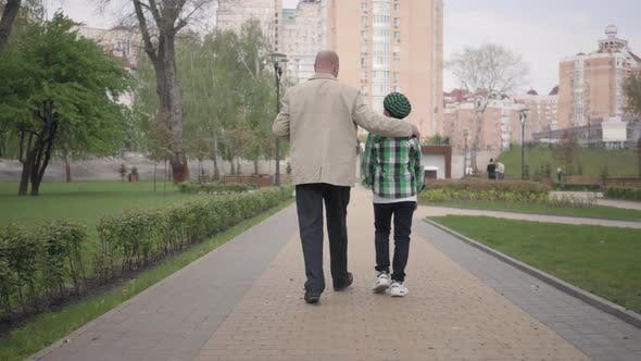 Thumbnail for Back View of Grandfather and Grandson Walking in the Park with Their Backs To Camera