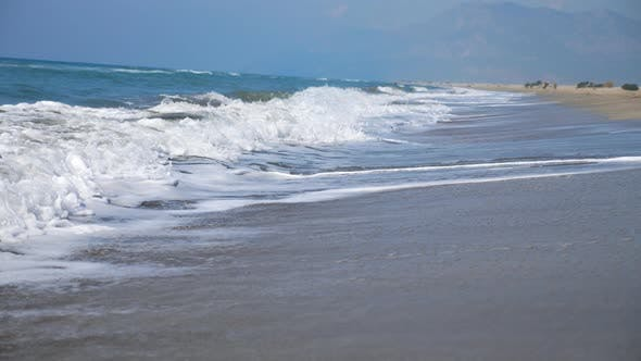 Thumbnail for Marine Scene of Empty Sand Beach with Big Ocean Waves Crashing on Shoreline. Beautiful Sunny Day on