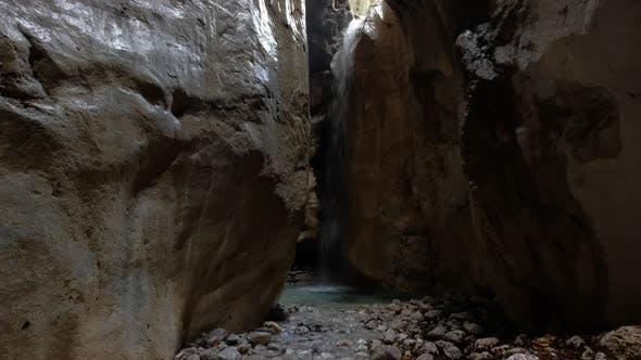 A Deep Natural Canyon of a Mountain River