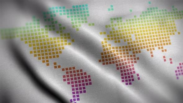 Carte du monde blanc couleur arc-en-ciel 01 drapeau gros plan 4K