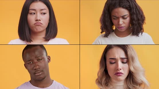 Thumbnail for Sadness and Life Problems. Mosaic Collage of Multiethnic Upset People Pouting Lips, Looking Offended