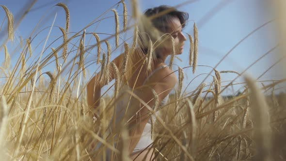 Thumbnail for Skill Woman Wearing Bodysuit with Short Hair on the Wheat Field