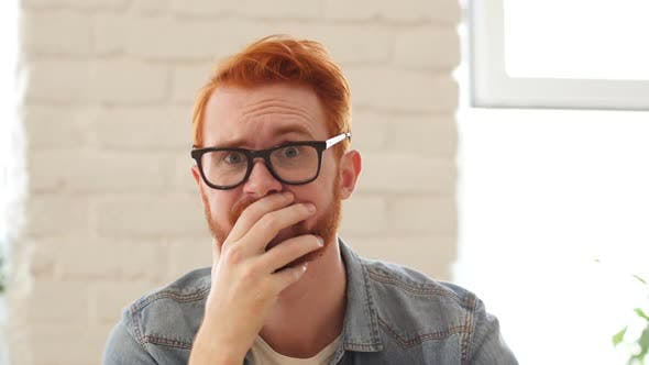 Thumbnail for Reaction of Loss, Failure, Unsatisfied Man with Beard and Red Hairs, Portrait