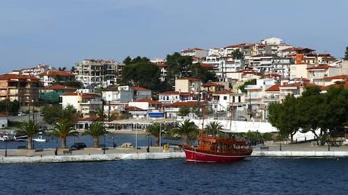 Cruise ship in the harbor of Neo Marmaras Greece
