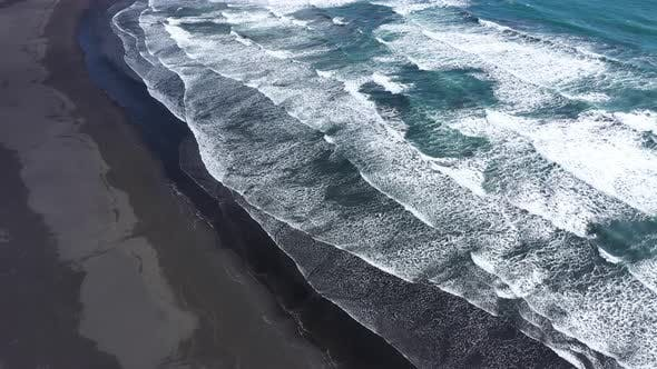 Thumbnail for Atlantic Ocean Waves Washing Black Sandy Beach in Iceland