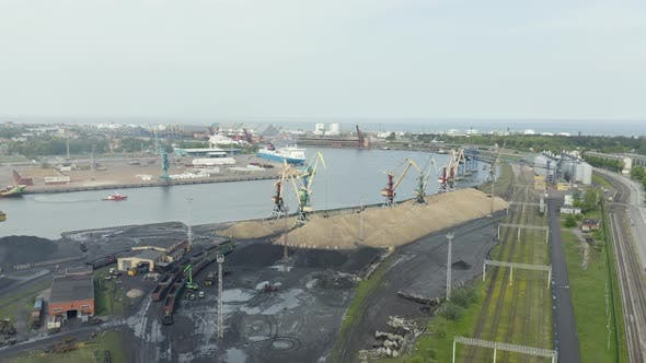 Thumbnail for Port With Ship And Cranes